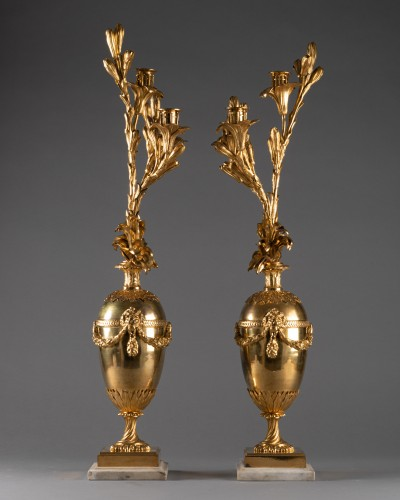Louis XVI - Three lights candelabras pair Louis XVI period late 18th century