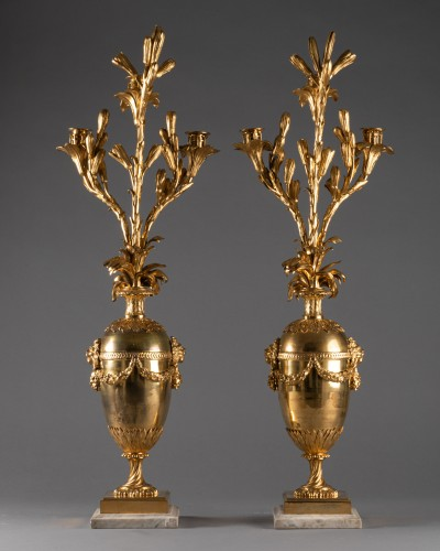 Antiquités - Three lights candelabras pair Louis XVI period late 18th century