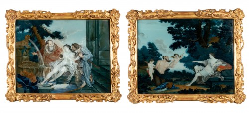 """""""Fixed under glass"""" pair mid18th century"""