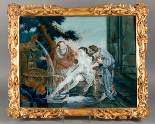 """""""Fixed under glass"""" pair mid18th century - Paintings & Drawings Style Louis XV"""