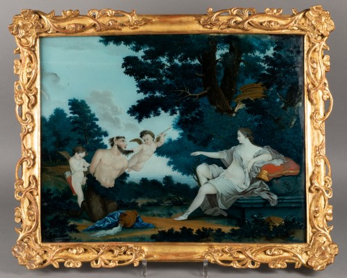 """Paintings & Drawings  - """"Fixed under glass"""" pair mid18th century"""