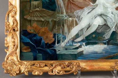 "Antiquités - ""Fixed under glass"" pair mid18th century"