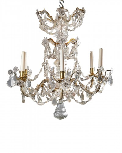 Crystal and rock crystal chandelier mid 18th century