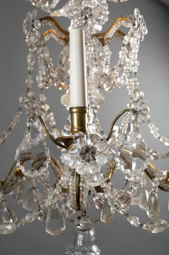 Crystal and rock crystal chandelier mid 18th century - Lighting Style Louis XV