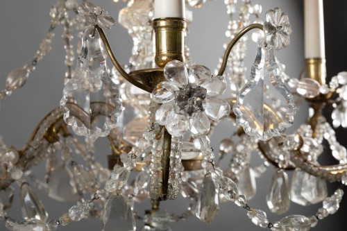 Lighting  - Crystal and rock crystal chandelier mid 18th century