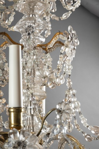 Crystal and rock crystal chandelier mid 18th century -