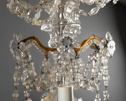18th century - Crystal and rock crystal chandelier mid 18th century