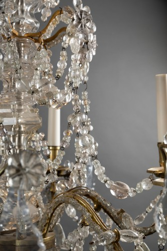 Louis XV - Crystal and rock crystal chandelier mid 18th century