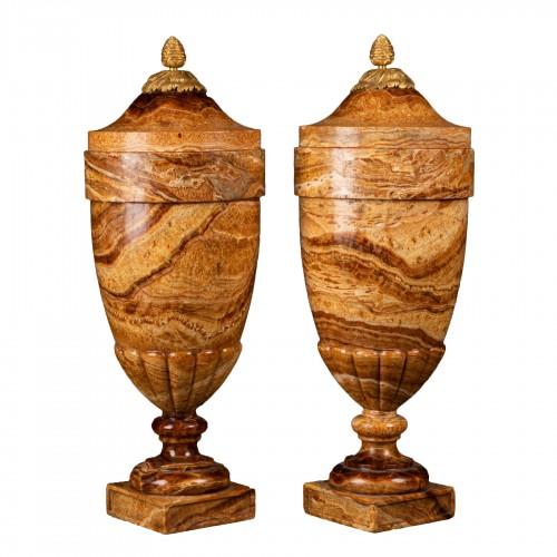Alabaster vases pair late 18th century