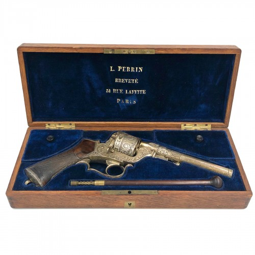 Box set necessary revolver Perrin de luxe, engraved and silver plated