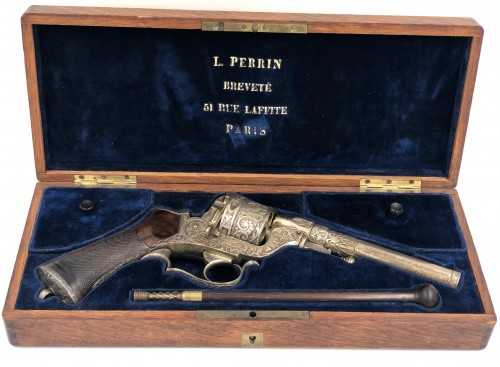 Box set necessary revolver Perrin de luxe, engraved and silver plated - Collectibles Style