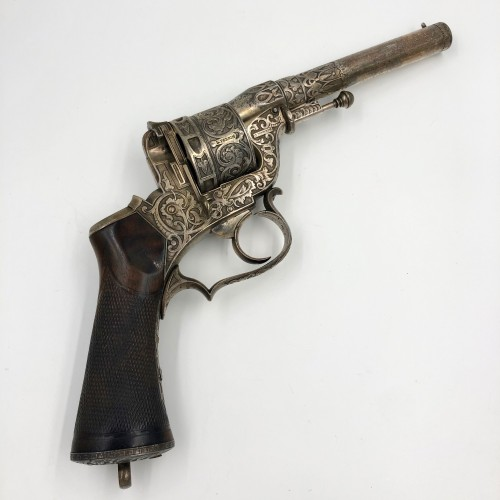 19th century - Box set necessary revolver Perrin de luxe, engraved and silver plated