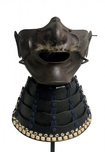 Half Mempo mask in oxidized natural iron, Japan Edo period