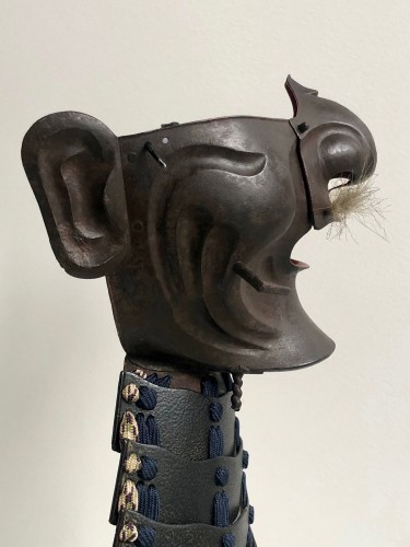 Asian Art & Antiques  - Half Mempo mask in oxidized natural iron, Japan Edo period