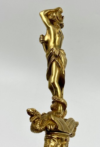 - Large Golden Bronze Dagger, Fully Carved, Romantic Style, 19th C.
