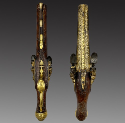 Silex Pistol with Double Flat Barrel, France, Oriental Market, 18th century -