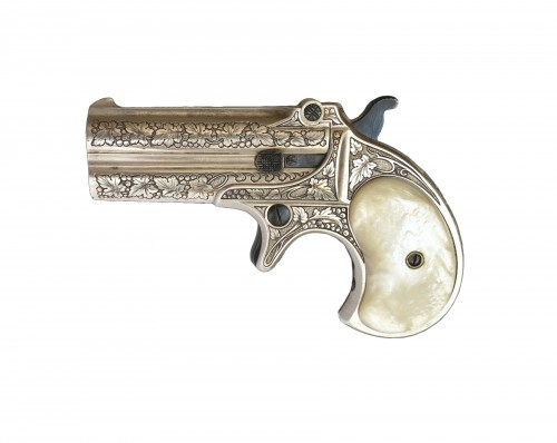Derringer Pistol Remington Over Under, Engraved, Silver Plated
