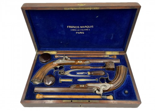 Boxed Set Containing A Pair Of Percussion Pistols By Francis Marquis