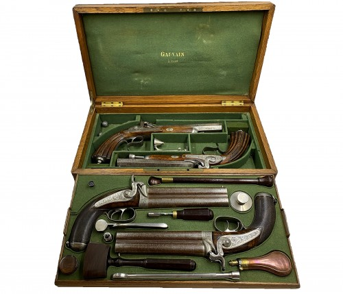 Boxed Set Containing Two Pairs Of Deluxe Pistols, By A. Gauvain, France