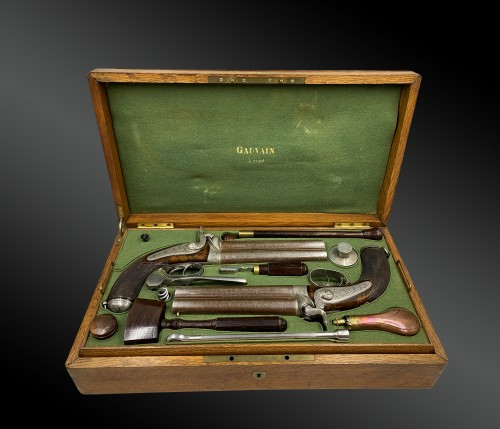 Boxed Set Containing Two Pairs Of Deluxe Pistols, By A. Gauvain, France -