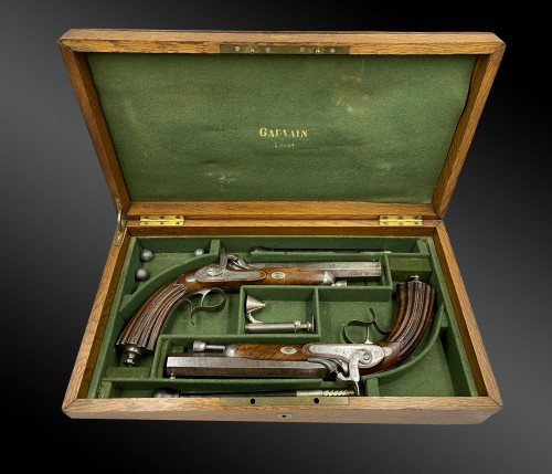 19th century - Boxed Set Containing Two Pairs Of Deluxe Pistols, By A. Gauvain, France