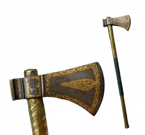 Indo-Persian weapons axe. Tabarzine, signed. Persia 19th century