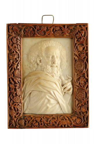 Netherlandish Ivory Relief Portrait Plaque of the Philosopher Democritus