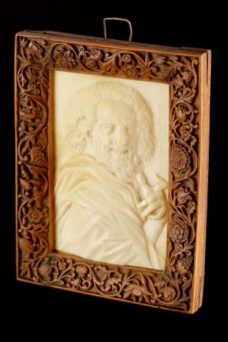 Sculpture  - Netherlandish Ivory Relief Portrait Plaque of the Philosopher Democritus