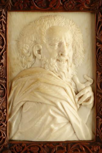 17th century - Netherlandish Ivory Relief Portrait Plaque of the Philosopher Democritus