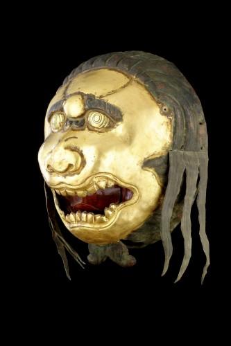 Tibetan Gilt Copper Repoussé Mask Head of a Ferocious Snow Lion - Asian Works of Art Style