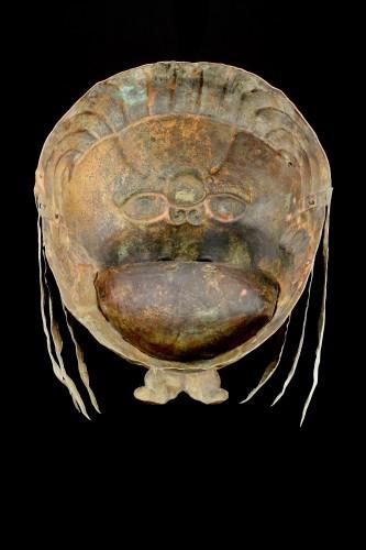 Tibetan Gilt Copper Repoussé Mask Head of a Ferocious Snow Lion -