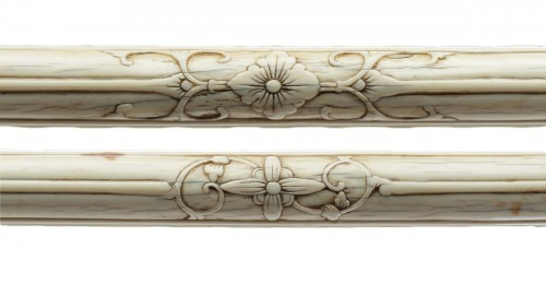 Pair of Chinese Carved Ivory Supports for a Hammock