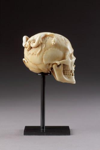 An Exceptional German Carved Ivory Vanitas  -