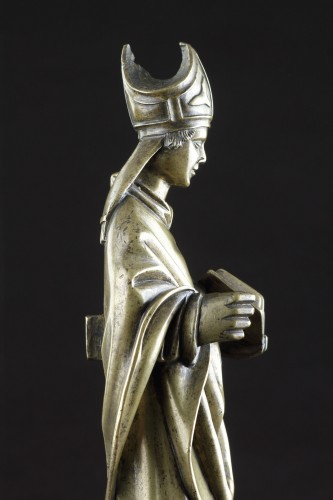 Sculpture  - Medieval Gothic Tournai Bronze Standing Figure