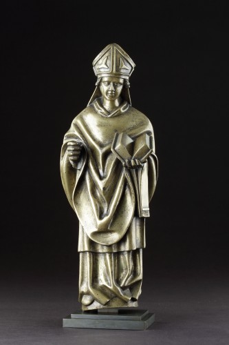 11th to 15th century - Medieval Gothic Tournai Bronze Standing Figure