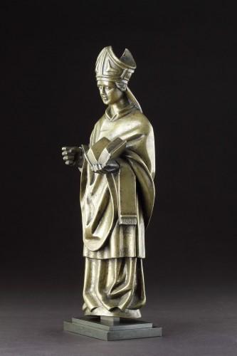 Antiquités - Medieval Gothic Tournai Bronze Standing Figure
