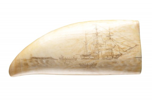 Pair of Matched Sailors Scrimshaw Sperm Whale Teeth