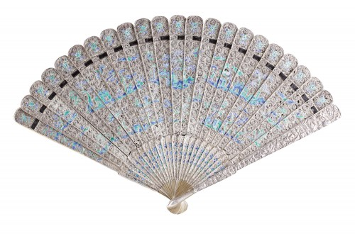 Chinese Export Enamelled Silver Gilt Fan