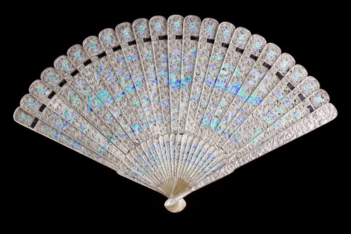 Chinese Export Enamelled Silver Gilt Fan - Asian Works of Art Style