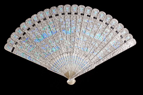 Asian Works of Art  - Chinese Export Enamelled Silver Gilt Fan