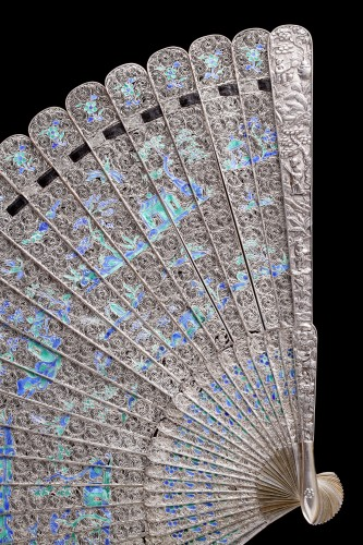 Chinese Export Enamelled Silver Gilt Fan -