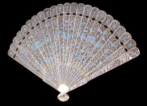 Antiquités - Chinese Export Enamelled Silver Gilt Fan