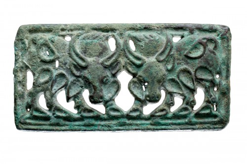 Siberian or North West Chinese Cast Openwork Bronze Belt Plaque
