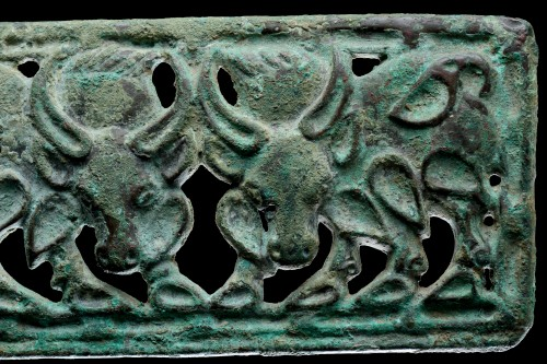 Asian Works of Art  - Siberian or North West Chinese Cast Openwork Bronze Belt Plaque