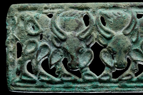 Siberian or North West Chinese Cast Openwork Bronze Belt Plaque -