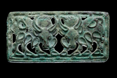 BC to 10th century - Siberian or North West Chinese Cast Openwork Bronze Belt Plaque