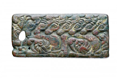 Ancient Chinese Gilt Bronze Rectangular Plaque