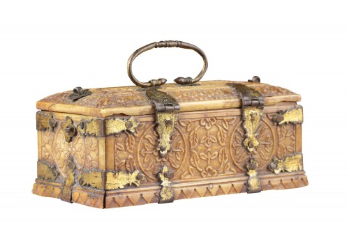 Asian Works of Art  - India Mughal Small Carved Ivory Casket