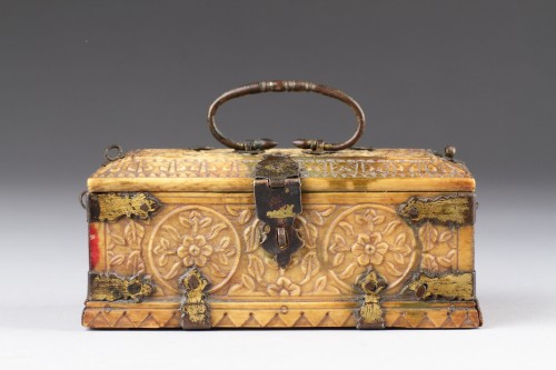 India Mughal Small Carved Ivory Casket -