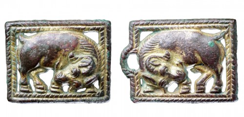 Chinese Gilded Bronze Open Work Mirroring Belt Plaques